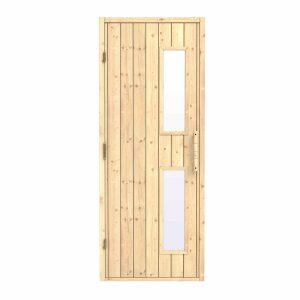 Bastudörr - Trä, Klart Glas, 8 x 20